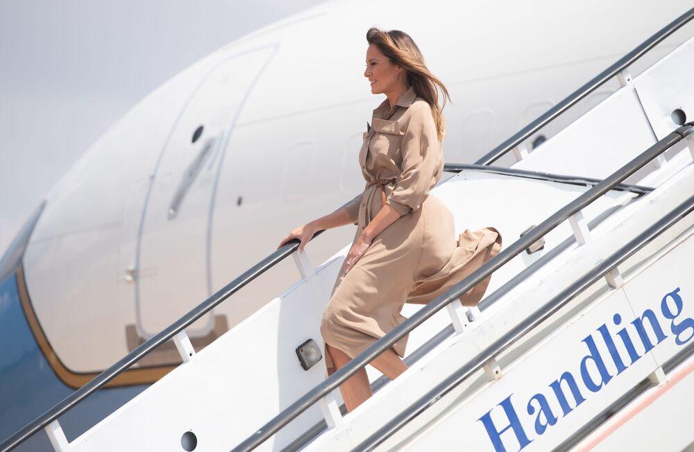 La first lady degli Stati Uniti, Melania Trump, arriva in Malawi, 2018.