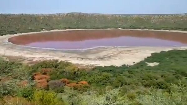 Il lago Lonar del Maharashtra è diventato misteriosamente rosa - Sputnik Italia
