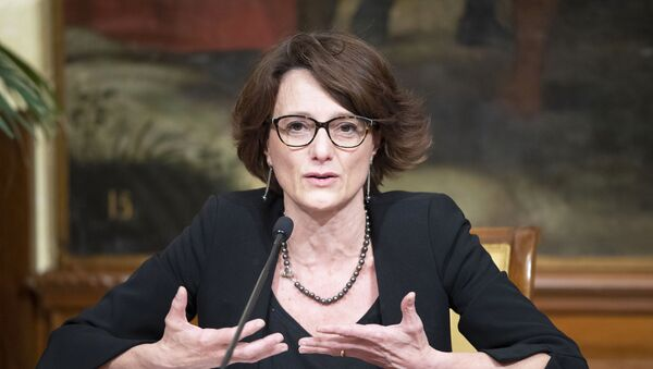 Il Ministro Elena Bonetti (Pari Opportunità e Famiglia) durante le dichiarazioni alla stampa al termine della riunione del Consiglio dei Ministri. - Sputnik Italia