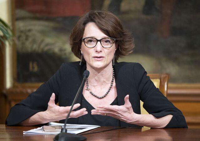 Il Ministro Elena Bonetti (Pari Opportunità e Famiglia) durante le dichiarazioni alla stampa al termine della riunione del Consiglio dei Ministri.