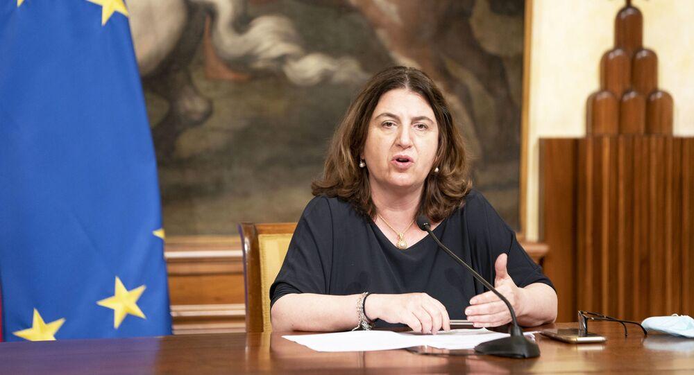 Il Ministro Nunzia Catalfo (Lavoro e Politiche Sociali) durante le dichiarazioni alla stampa al termine della riunione del Consiglio dei Ministri.