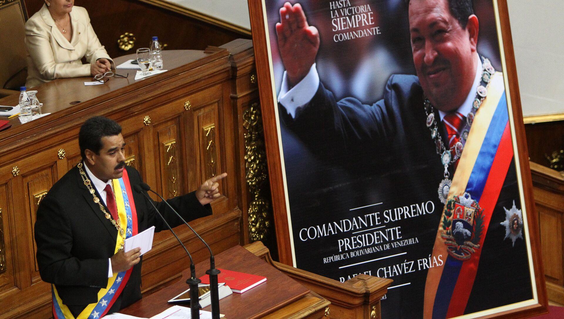 Il presidente venezuelano Maduro pronuncia il suo discorso di insediamento - Sputnik Italia, 1920, 29.03.2021