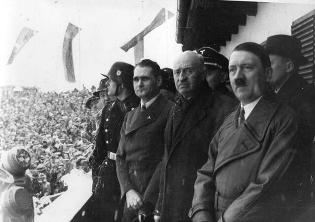 Rudolph Hess, Henri de Bayeux Latour and Adolf Hitler