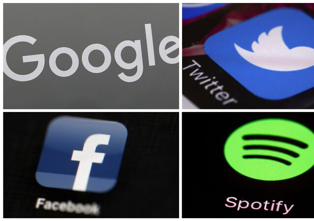 This photo combo of images shows, clockwise, from upper left: a Google sign, and apps for Twitter, Spotify and Facebook. YouTube, Facebook, Twitter, Spotify and other sites are finding themselves in a role they never wanted, as gatekeepers of discourse on their platforms,  deciding what should and shouldn't be allowed and often angering almost everyone in the process.