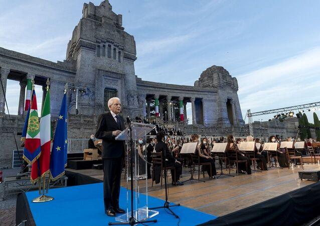 Il Presidente della Repubblica Sergio Mattarella in occasione della cerimonia di commemorazione dedicata alle vittime bargamasche del covid-19