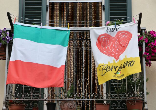 Bandiera italiana a Bergamo
