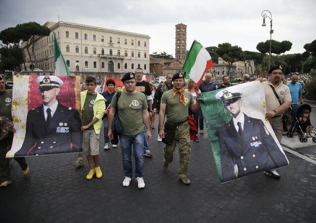 Manifestazioni per i marò
