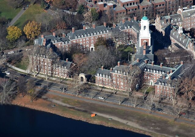Aerial view of Eliot House, an undergraduate residential college of Harvard University, taken from the south