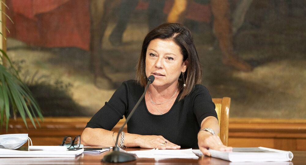 La Ministra delle Infrastrutture e dei Trasporti, Paola De Micheli, in conferenza stampa sul Dl Semplificazioni.