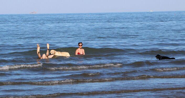 Una coppia con cane al mare in Italia
