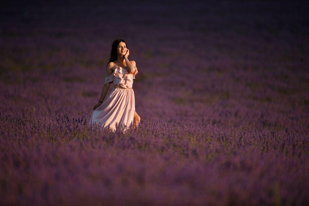 Una ragazza sul campo di lavanda in Crimea. Le piantagioni di lavanda occupano oltre 120 ettari nel distretto Bakhchisarai nei pressi del villaggio di Turgenevka.