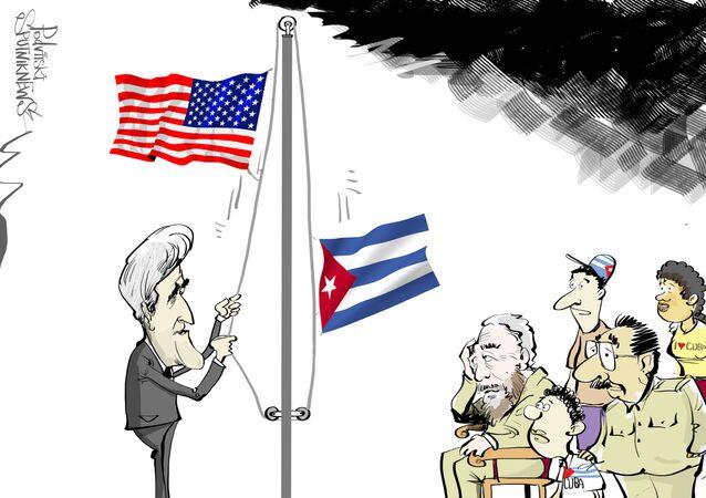 Il 14 agosto John Kerry si recherà in visita ufficiale all'Avana e sarà il primo alto funzionario statunitense che dopo 65 anni che solcherà con il suolo cubano. Kerry sarà presente alla cerimonia di alzabandiera presso l'ambasciata USA a Cuba.