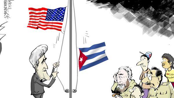 Il 14 agosto John Kerry si recherà in visita ufficiale all'Avana e sarà il primo alto funzionario statunitense che dopo 65 anni che solcherà con il suolo cubano. Kerry sarà presente alla cerimonia di alzabandiera presso l'ambasciata USA a Cuba. - Sputnik Italia