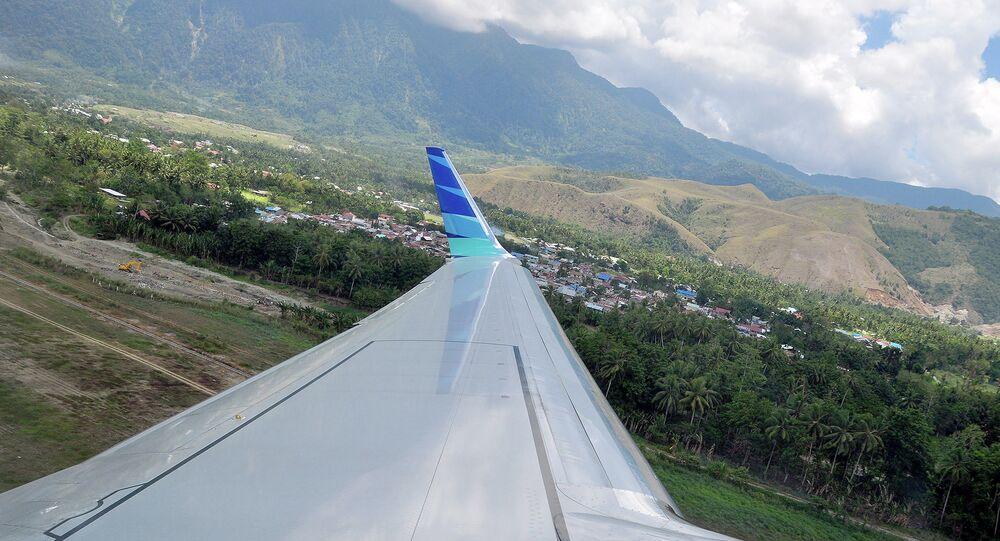 Una vista dal bordo dell'aereo