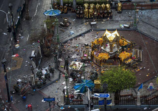 Dopo l'esplosione al centro di Bangkok, Thailandia.